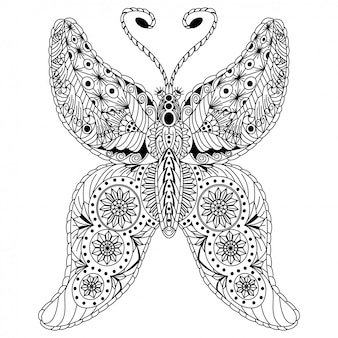Hand drawn of butterfly in zentangle style
