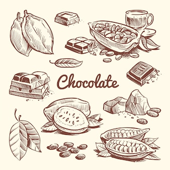 Ручной обращается какао, листья, семена какао, сладкий десерт и шоколадный батончик. какао эскиз векторная коллекция