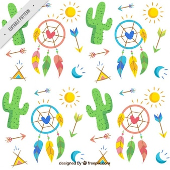 Hand drawn cacti and boho elements pattern