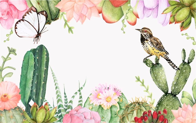 手描きのサボテンとsuccelents植物の背景