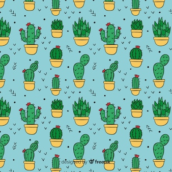 Hand drawn cactus background