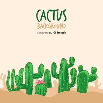 Hand drawn cactus background