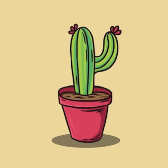 Hand drawn cactus on beige