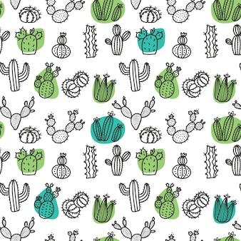 Hand drawn cactus doodle seamless pattern
