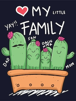 Hand drawn cactus family for t shirt