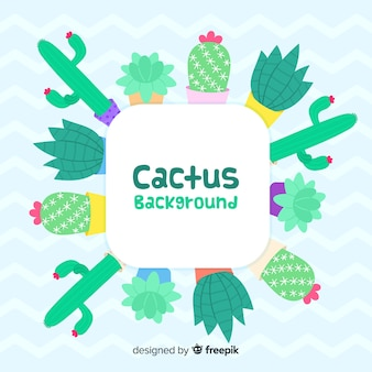 Hand drawn cactus frame background