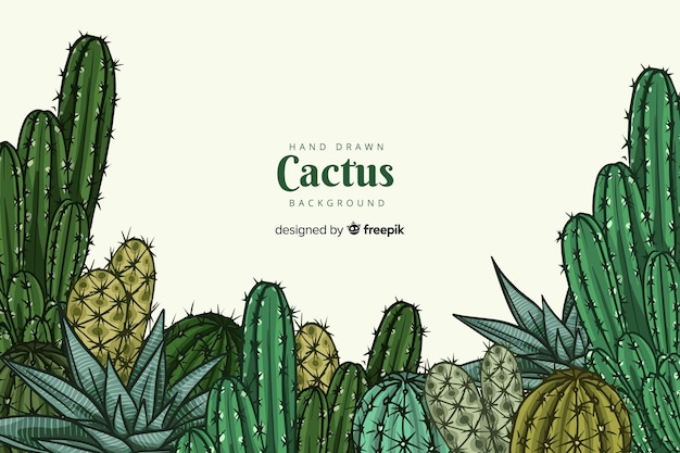 Hand drawn cactus group background