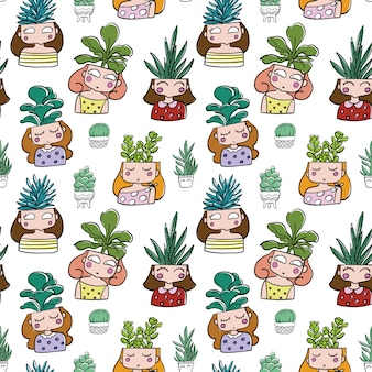 Hand drawn cactus head girl seamless pattern