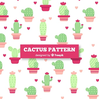 Hand drawn cactus and hearts pattern