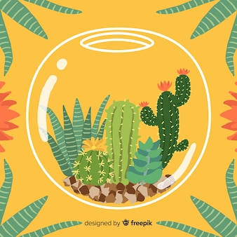 Hand drawn cactus inside fishbowl background