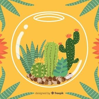 金魚鉢の背景の中の手描きサボテン