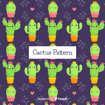 Hand drawn cactus pattern background