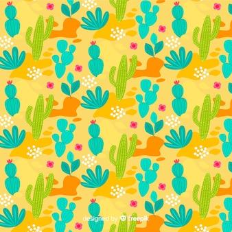 Hand drawn cactus pattern background