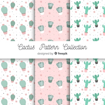 Hand drawn cactus pattern set