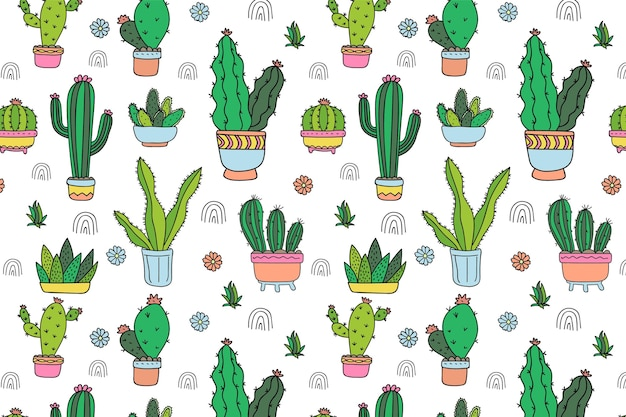 Hand drawn cactus pattern template
