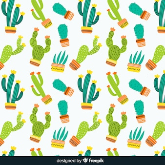 Hand drawn cactus pattern