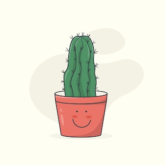 Hand drawn cactus in pot ink drawing graphic style