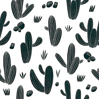 Hand drawn cactus seamless pattern. botanical african plants