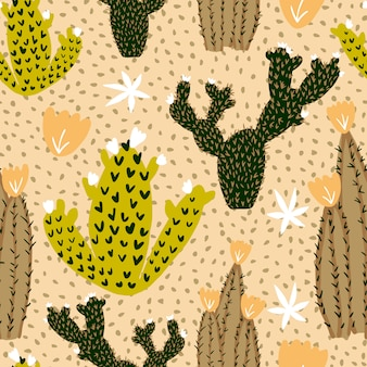 Hand drawn cactus seamless pattern on polka dot background.