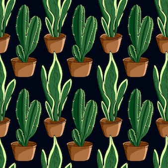 Hand drawn cactus seamless pattern with black background