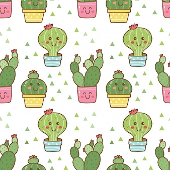 Hand drawn cactus seamless pattern