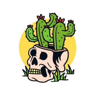 Hand drawn cactus in a skull old school tattoo illustration