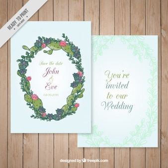 Ручной обращается кактус венок приглашение на свадьбу