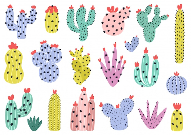 Hand drawn cactuses set. cute cacti collection in scandinavian style. desert clipart. succulent isolated elements.  illustration