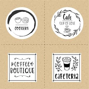 Hand drawn cafe logo set