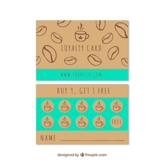 Hand drawn cafe loyalty card template