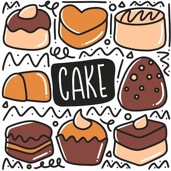 Hand drawn cake doodle set with icons and design elements