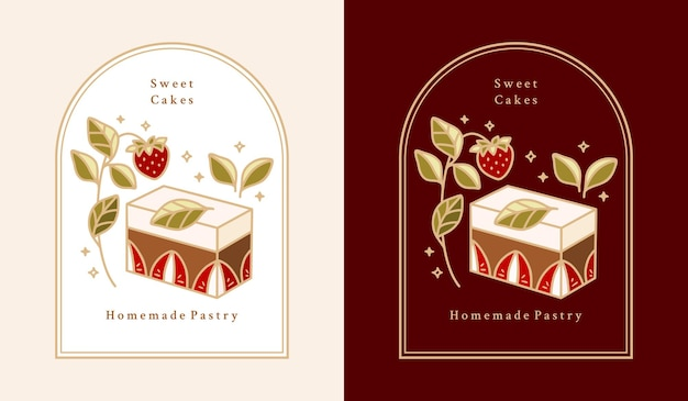 Hand drawn cake, pastry, bakery logo elements with strawberry, chocolate, leaf branch, and frame