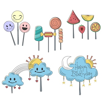 Hand drawn cake topper collection