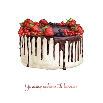 Ручной торт с ягодами