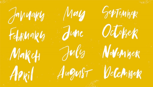 Hand drawn calendar months lettering on yellow