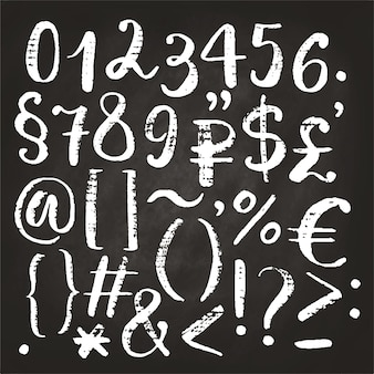 Hand drawn calligraphic numbers, ampersand and symbols written with brush pen.
