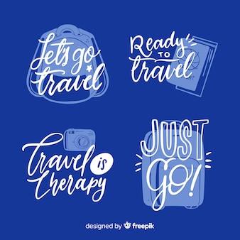 Hand drawn calligraphic travel badges