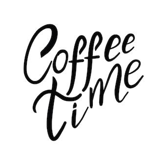 손으로 그린 서예와 브러시 펜 레터링 단어 커피.