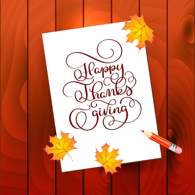 Hand drawn calligraphy lettering text happy thanksgiving