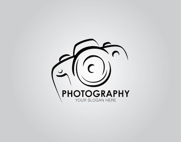 Hand drawn of camera photography logo icon design template