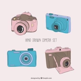 손으로 그린 카메라 세트