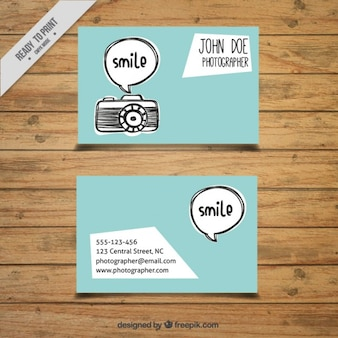 Hand drawn camera and speech bubble photography card