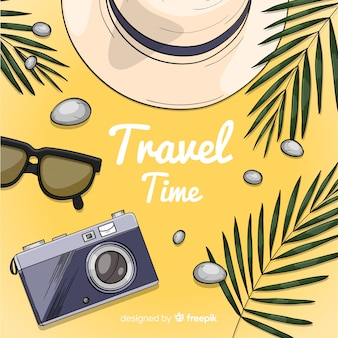 Hand drawn camera travel background