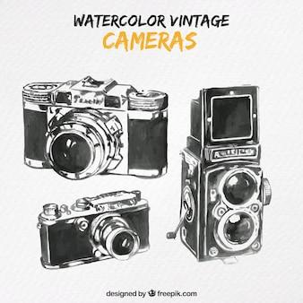 Hand drawn cameras in vintage design
