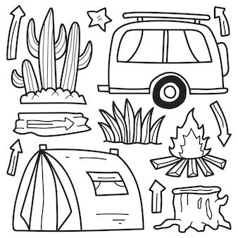 손으로 그린 캠퍼 낙서 만화 색칠 디자인
