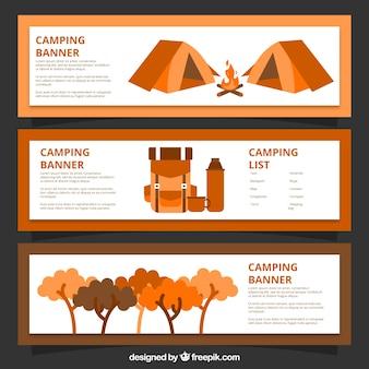 손으로 그린 캠핑 배너 오렌지 색상
