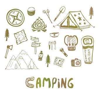 手描きのキャンプ要素。夏休みのアイコン。ベクトルスケッチ。