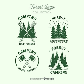 Hand drawn camping logo collection