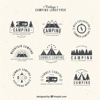 Hand drawn camping logos in vintage style