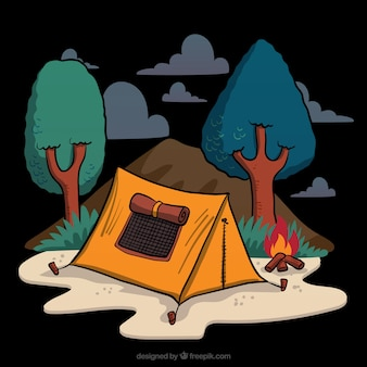 Hand drawn camping tent in a forest